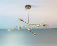 MID CENTURY MODERN ATOMIC SPUTNIK BRASS CHANDELIER LIGHT FITTING 6 BULBS ARM NEW
