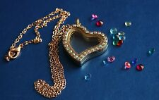 Gold / Clear Crystal Heart Living Memory Charm Locket Pendant & Necklace Chain