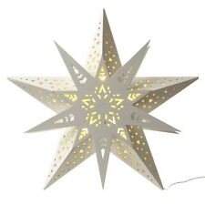 Hanging White Wooden Star with LED Light Window Display Christmas Heaven Sends