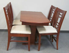 RV Hide Leaf Dinette Table Folding Slat Storage Chairs Hardwood Stained Cherry