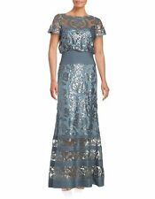 Tadashi Shoji Steel Blue Cap Sleeve Sequin Lace Prom Evening Dress Gown  8