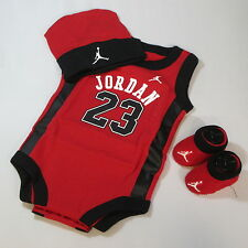 Baby Babies Infants New Born Boys Girls JUMPMAN JORDAN 23 3 Piece Bodysuit set