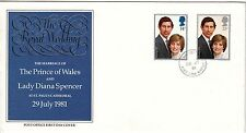 LETTRE FDC ROYAUME UNI SERIE TIMBRE 1001 A 1002 MARIAGE ROYAL CHARLES ET DIANA