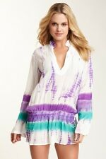 "NWD MONIQUE LESHMAN HAUTELOOK ""WOODSTOCK"" PURPLE GREEN TIE DYE BOHO TUNIC TOP SM"