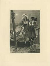 ANTIQUE VICTORIAN FULL MOON NIGHT GORGEOUS WOMAN ENGLISH MAN BOAT THAMES PRINT