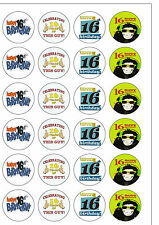 24 Precut Happy 16th Birthday Boy Themed Cupcake Toppers Cake Decorations