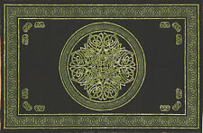 Handmade Cotton Celtic Circle Wheel of Life Tapestry Bedspread Queen Green Black