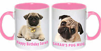 Pug face dog personalised mug printed cup puppy dogs Birthday  Gift PINK