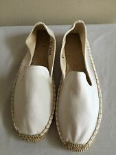 NWOB $55 SOLUDOS Smoking Slipper Canvas Espadrilles Flats Shoes Size 9, Ivory