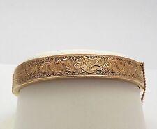 Victorian Hand Engraved Floral Birds Design 14k & 10k Gold Bangle Bracelet