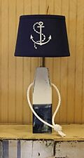Buoy Nautical Wood Table Lamp ~ Blue and White Distressed with Weathered Finish