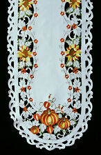 "Autumn Pumpkin Harvest Embroidered Lace Table Runner 16""x72"""