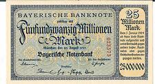 GERMANY BANKNOTE Bayerische Notenbank 25 million S933 1923 GEF-AU
