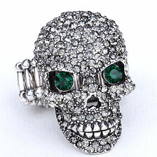 Gray Skull Skeleton Open Jaw Stretch Ring Crystal Rhinestone Halloween RD02
