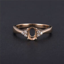 OVAL CUT 5×7MM SOLID 14K ROSE GOLD NATURAL DIAMOND SETTING SEMI RING MOUNT GOOD!