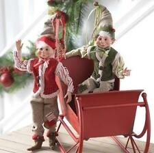 "FARMHOUSE CHRISTMAS ELF ELVES 16"" POSABLE DECORATIONS RAZ (SET OF 2) 3602228"