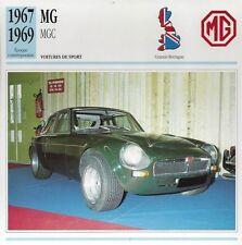 CARTE FICHE AUTO MG MGC 1967- 1969
