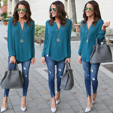 New Fashion Women Summer Loose Chiffon Long Sleeve Shirt Casual Blouse Top