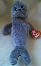 TY Beanie Babies Retired SLIPPERY Seal NEW with Misspelling Error on Tag