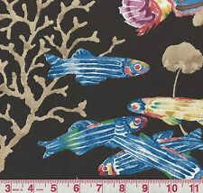 P Kaufmann Fisherman's Find Licorice Black Ocean Print Fabric BTY