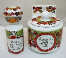 Turi Design Folklore F/F Norway Salt Box & Pepper Shaker 1950-60's Floral NICE