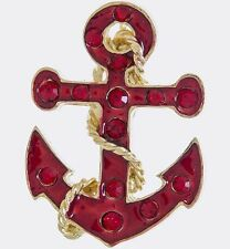NAUTICAL BOAT ANCHOR RED RHINESTONE & ENAMEL BROOCH AND PENDANT