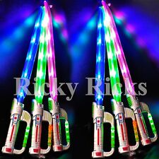 12 Light-Up Ninja Swords w/ Sound Flashing LED Toy Sticks Glow Lot WHOLESALE