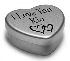 I Love You Rio Mini Heart Tin Gift For I Heart Rio With Chocolates or Mints