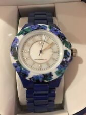 Isaac Mizrahi Live! Ceramic Watch with Floral Printed Bezel-White  Average Size