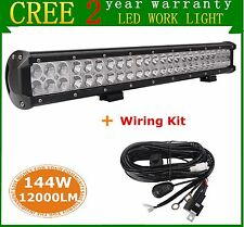 144W 23inch CREE LED Work COMBO Light Bar 12V 24V Off-road Fog Lamp+ Wiring Kit