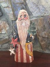 Whimsical folk art sculpture of Santa or Father Time (1996) - D.L. Peterson