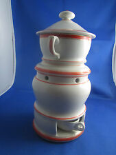 ancienne grande tisaniere en porcelaine blanche de paris filet orange epoque 19e
