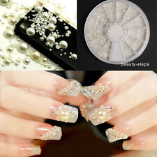 Fashion Lady Acrylic Pearl Gem Glitter Manicure 3D White Nail Art Supply 4 Size