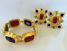FABULOUS CHANEL HAUTE COUTURE 80s GRIPOIX POURED GLASS BRACELET & EARRINGS SET