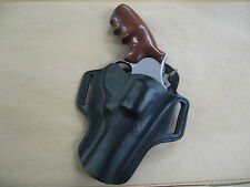 "Taurus Model 44 Revolver 4"" Leather 2 Slot Pancake Belt Holster CCW  BLACK RH"