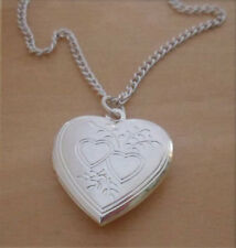 "LOVE Heart Shaped Locket, Pendant & 18"" Chain, Silver Plated"