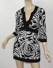 WHITE HOUSE BLACK MARKET Zebra Rose Print Jersey Flare Sleeve Empire Tunic Top S