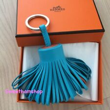 Authentic Hermes Carmen Tricolor Blue Azteque + Cornaline Key Ring Bag Charm