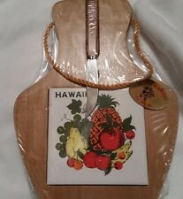 Vintage Aloha Hawaii No Ka Oi Wood and Ceramic Cheese and Fruit Board New