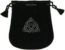"""Black Velvet Bag / Pouch 5"""" x 5"""" Triquetra (Wicca Talisman Drawstring)"""
