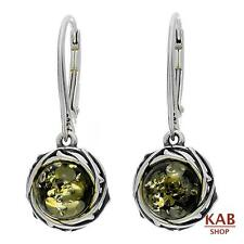 GREEN BALTIC AMBER STERLING SILVER 925 JEWELLERY BEAUTY EARRINGS. KAB-185