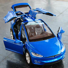 Tesla Model X Diecast Car Model Scale in 1/32 Sound&Light Toys&Collections Blue
