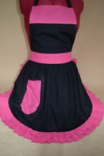 RETRO VINTAGE 50's STYLE FULL APRON / PINNY - BLACK with PINK TRIM