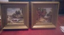 2 framed painted tiles H & R Johnson ltd cristal