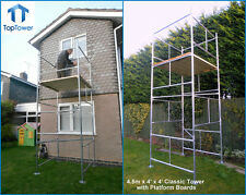 "DIY Scaffold Tower 4.5m (4' x 4 'x 14'3"" WH) Galvanised Steel with Boards"