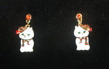 White Cat Christmas Earrings Pierced Scarf Hat Red Green Eyes Crystal Accents