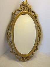 "Vintage Syroco 1965 Hollywood Regency floral Chic Oval Mirror # 5114 ornate 29""H"