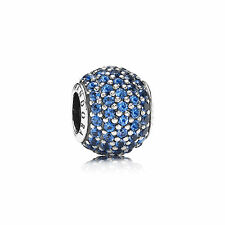 Genuine PANDORA Sterling Silver bead S925 ALE Blue Pave Ball Charm - 791051NCB