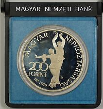 1980 Hungarian Olympic XIII Winter Games Commemorative Silver Coin 200 Forint