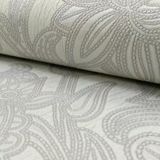 ARTHOUSE VINTAGE VIOLA FLORAL LEAF DAMASK GLITTER VINYL WALLPAPER SILVER DOVE